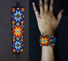 Inheemse Amerikaanse gerolde armband, armband van de Huichol, ster armband, inheemse Manchet armband, Indiaanse sieraden, sieraden van de Huichol, Rocailles