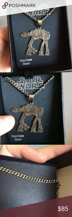 "NWT Star Wars Imperial Walker Necklace Stainless steel. Brand new in box. Retail $100. I have two available. Chain is thicker, looks more like a men's necklace? Measures 22."" Star Wars Accessories Jewelry"