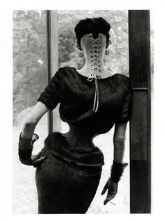 """nothingpersonaluk: """" Shot by Steven Meisel and styled by Karl Templer, the Stella Tennant for Vogue Italia September 2011 editorial is inspired by Ethel Granger, the girl with the smallest waist, measuring at just 13 inches Mr Pearl Corsetry Paris """" Stella Tennant, Steven Meisel, Ellen Von Unwerth, Ethel Granger, Vogue, Corsets, Mr Pearl, Jean Paul Goude, Templer"""