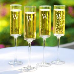 Personalized Contemporary Champagne Flutes.
