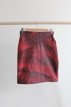 Round She Goes - Market Place - 1980's Vintage high waist red leather mini pencil skirt