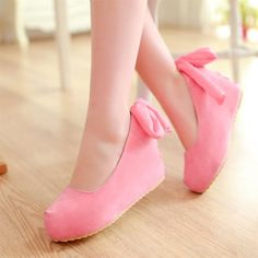 "Pastel wedge princess bow heels  Coupon code ""cutekawaii"" for 10% off"