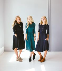 These knit jersey dresses are the cutest length! We love them in all of the…