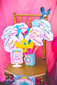 Photo props at a princess birthday party! See more party planning ideas at CatchMyParty.com!