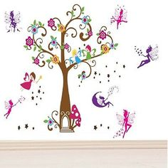 Pink #fairy magic angel tree wall #decal stickers #paper mural home art decor ,  View more on the LINK: http://www.zeppy.io/product/gb/2/281662465392/