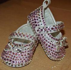 Pretty pink Mary Janes Swarovski toddler / baby ballet slippers