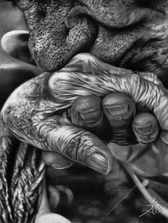 """A Promise That I Keep"" photo by Gianfranco Meloni, reimagined in graphite by SongYong on deviantART Photo Black, Black White Photos, White Art, Black And White Photography, Hand Photography, Amazing Photography, Street Photography, Portrait Photography, People Photography"