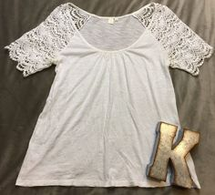 E By Eloise Anthropologie White Sleeve Short Sleeve Shirt Women's Sz S* #EByEloise #KnitTop