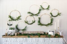 I LOVE these simple hoop wreaths with fresh greenery. The perfect amount of Christmas without being over the top. DIY holiday wreath