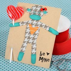 Sock monkey valentine Bailey pink for G! My Funny Valentine, Valentine Day Crafts, Love Valentines, Holiday Crafts, Diy Crafts How To Make, Crafts For Kids, Silhouette Blog, Monkey Crafts, Happy Hearts Day