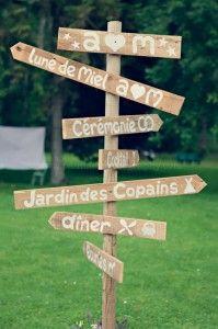 panneaux de signalisation mariage champêtre