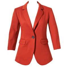 Ponte blazer in rust. 3/4 sleeve jackets for a professional, summery look.