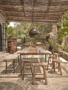 A woven cane pergola shades an outdoor dining patio. For more, see La Granja Ibiza: The Sexy New Farm Retreat. Photograph courtesy of Design Hotels. Outdoor Pergola, Outdoor Rooms, Outdoor Tables, Outdoor Furniture Sets, Outdoor Decor, Pergola Ideas, Cheap Pergola, Diy Pergola, Pergola Carport