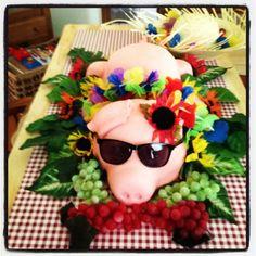 Pig Roast Luau Cake Luau Party Cakes, Luau Theme Party, Aloha Party, Hawaiian Luau Party, Hawaiian Birthday, Tiki Party, Luau Birthday, Bbq Party, Birthday Parties