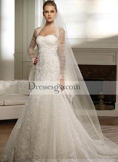 Gorgeous A-line Sweetheart Chapel Train Lace Bridal Wedding Dresses