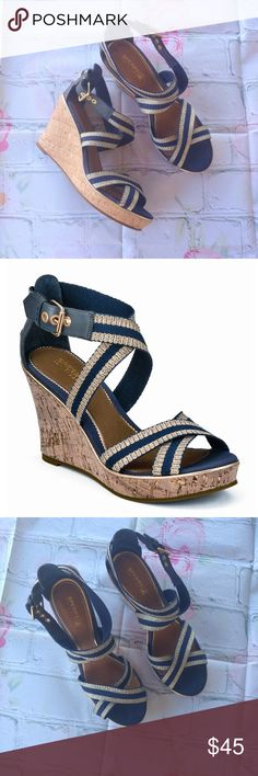 """🌺ClosetClearOutSperry Top-sider Harbordale Wedges Very good condition, worn only few times. Navy/gold sandals.  Leather/canvas. Platform/wedge. Platform approx.1"""", heel approx.3.5"""". Sperry Top-Sider Shoes Wedges"""