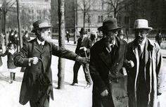 Leaders of the Menshevik Party at Norra Bantorget in Stockholm, Sweden, May 1917. Pavel Axelrod, Julius Martov and Alexander Martinov