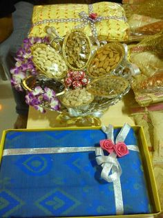 The Dry Fruit Trays, platters and boxes are made. Desi Wedding Decor, Wedding Stage Decorations, Engagement Decorations, Wedding Crafts, Wedding Events, Wedding Gift Baskets, Wedding Gift Wrapping, Trousseau Packing, Mehndi Decor