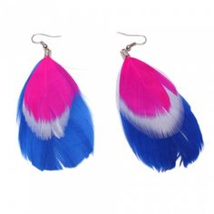 Fashion Feather Earrings Pink White Blue | favwish - Jewelry on ArtFire