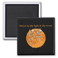 #funny - #Halloween Dancing Skeletons Orange Moon Magnet