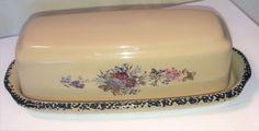 Home & Garden Party Floral Splendor Stoneware Butter Dish June 2001 Retired #HomeandGarden