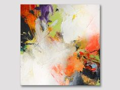 Abstract acrylic painting, original square abstract art on stretched textured canvas, modern orange wall art paintings ready to hang
