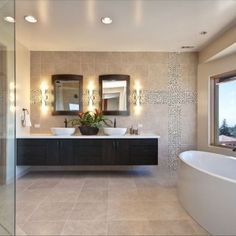 Awesome Awesome Floating Sink For Contemporary Bathroom Idea : Elegant Modern  Master Bathroom With Warm Colors And Floating Cabinet White Bath Up    Contrasting Wall ...