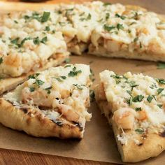 Grilled Shrimp Pizza made with salsa verde and queso fresco -- unique and so yummy!