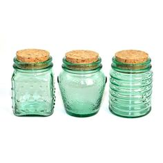 Emerald Green Glass Jar Trio with Cork Stopper Lids - Beautiful Decorative or Storage Use Containers, Marked Canada - Vintage Home Decor