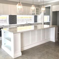 A sneak peak of the kitchen area of our soon to be completed Rochedale home with another stunning Hamptons inspired kitchen 💖👌🏻🏡 . Kitchen Area, Kitchen Diner Extension, Modern Country Kitchens, Kitchen Island Table, Hamptons House, Hamptons Kitchen, Country Kitchen, Kitchen Reno, Kitchen Design