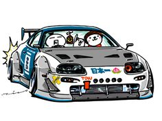 "car illustration ""crazy car art"" jdm japanese old school ""A80 SUPRA"" original characters ""mame mame rock"" / © ozizo ""ROCK'N ROLL"" Line theme ""Crazy Car Art"" Line themes ""Crazy Car Art"" Line stickers ""Crazy car Art"" Telegram stickers"