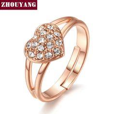 Zyr146 oro corazón romántico del anillo del cristal 18 K plateó Made con genuino…
