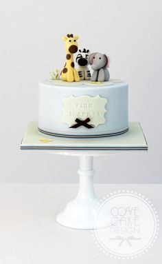 Baby zoo - Cake by Cove Cake Design - CakesDecor Zoo Animal Cakes, Animal Birthday Cakes, Baby Birthday Cakes, Zoo Cake, Jungle Cake, Christening Cake Boy, Safari Cakes, Gateaux Cake, Cakes For Boys