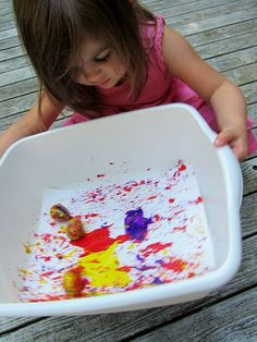 toddler art projects anyone can do at home or at preschool. Great fun active art for toddlers.