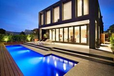 Luxury Minimalist Home Swimming Pool with blue light design