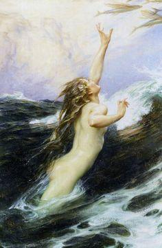 "by Herbert James Draper 1863-1920 ""Flying Fish"" ca. 1910"