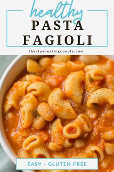 This Healthy Vegan Pasta Fagioli soup is packed with protein and so cozy. It's the perfect nutritious, veggie packed winter dinner anyone will love! You can make it in the instant pot, crockpot, or on the stovetop. Better than olive garden's and gluten free! #vegan #soup #pastafagioli #healthysoup Easy Clean Eating Recipes, Clean Eating Diet, Healthy Pasta Recipes, Healthy Pastas, Lunch Recipes, Pasta Fagioli Recipe, Fagioli Soup, Vegan Pasta, Vegan Soup