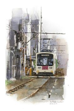 by Masato Watanabe Watercolor Landscape, Watercolor Art, Watercolour Paintings, Drawing Sketches, Drawings, Street Painting, Train Art, Art Pictures, Art Pics
