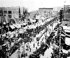 Salt Lake City Fourth of July parade in 1896. The celebration, the first after Utah received statehood, lasted 3 days with parachute jumpers, bike races, athletic events and fireworks. (Salt Lake Tribune archives)