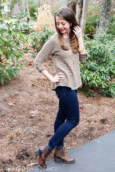 Western inspired ankle boots with chunky heal and brown striped sweater!  Styled with gold accessories. Everyday fashion ideas from Running in a Skirt!