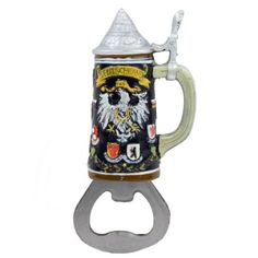 Magnetic Bottle Opener - Deutschland & Stein Shape by Oktoberfest Haus. $5.99. Material: Resin. Origin: China. German Stein. This Deutschland/stein bottle opener is truly unique! Bring this item to your next Oktoberfest party or keep it easily accessible in your kitchen or bar. It is magnetic so you can display it on any magnetic surface. ==Bottle Opener Specifications== *German Stein *Material: Resin *Origin: China. Save 20%!