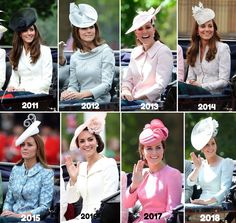 Trooping The Colour from June 2011 through June 2018 ~ This montage depicts how HRH Catherine, Duchess of Cambridge appeared for Trooping The Colour throughout the years since she was a newlywed in English Royal Family, British Royal Families, Prince William And Catherine, William Kate, Catherine Walker, Royal Princess, Princess Charlotte, Lady Diana, Windsor