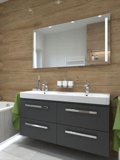 Čierna skrinka do kúpeľne, dvojumývadlo traffic, drevo na stene