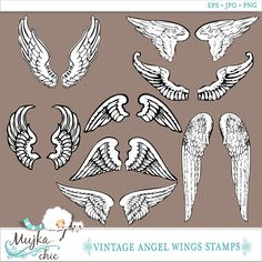 Vintage Angel Wing collection.  Hand drawn from public domain, vectorized and cleaned up for maximum decoration results.  These would be great for Cards, stamping, coloring, collaging scrapbooking or use them to digitize for embroidery projects.