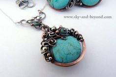 Sky And Beyond Wire Wrapped Pendant Necklaces