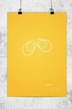 Affiches minimalistes des héros Pixar par Lee Wonchan - Walle