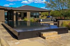 Beautiful indoor contemporaryoval gorgeous outdoor pools modern : Gorgeous Modern Outdoor Contemporary Pool Design With Black Rectangle Infinity Pool Marble Stair And Floor And Outdoor View