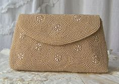 Vintage Beaded Clutch Satin Lining Cocktail Purse by CynthiasAttic