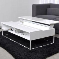 Table Basse Design Laque Plateau Relevable Laura Blanc