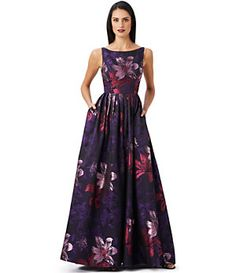 Adrianna Papell Floral Jacquard A-Line Gown | Dillard's Mobile